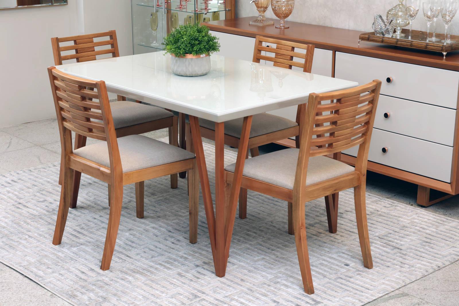 Sala de Jantar Europa 1,30 com Cadeiras Taça