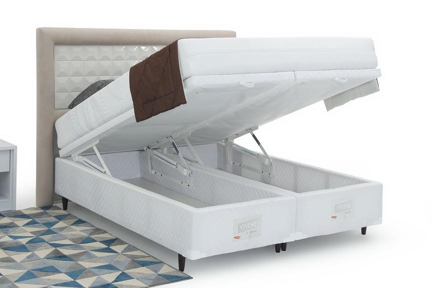 Base Box Baú Bipartida Casal Queen Branca