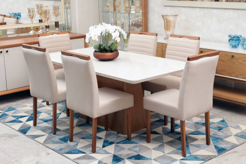 Mesa de Jantar Triunfo Gênova 1,80 com 6 Cadeiras Dallas
