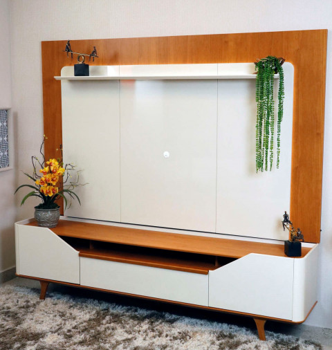 Rack Com Painel Imcal Arc 2,20Mts Off White/Nature