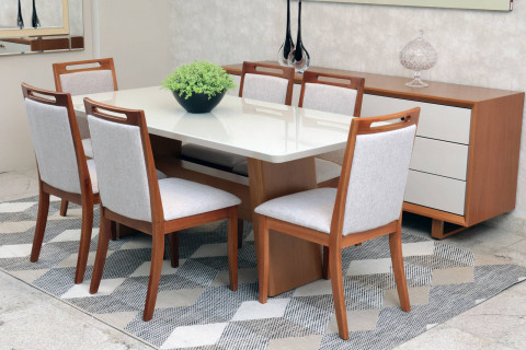 Sala de Jantar Monique com cadeiras Rafaela