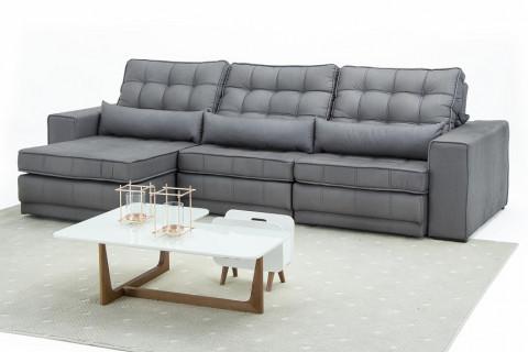 Sofá Retrátil e Reclinável 3,20Mts Onix Cinza