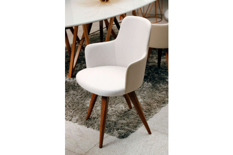 Cadeira Tina Giratória com pé Amêndoa