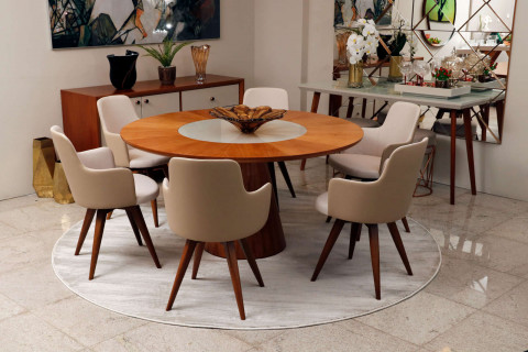 Mesa de Jantar  Rafana com 6 Cadeiras Giratória Tina