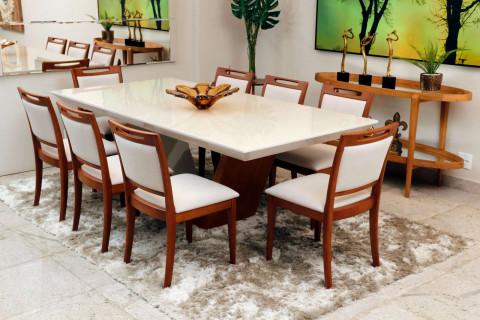 Mesa de Jantar Triunfo Madri 2,00mts Com 8 Cadeiras Castanho