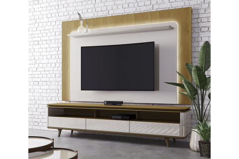 Rack Com Painel Imcal Arc 2,18Mts Off White/Nature