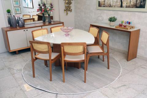 Mesa de Jantar Delta com 6 Cadeiras Pérola